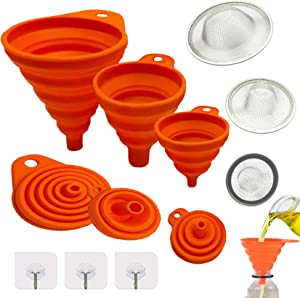 Kitchen Silicone Collapsible Funnel Kit With Strainer Hook Up For filling bottles, Oil, Food, Canning Funnel (9PCS)