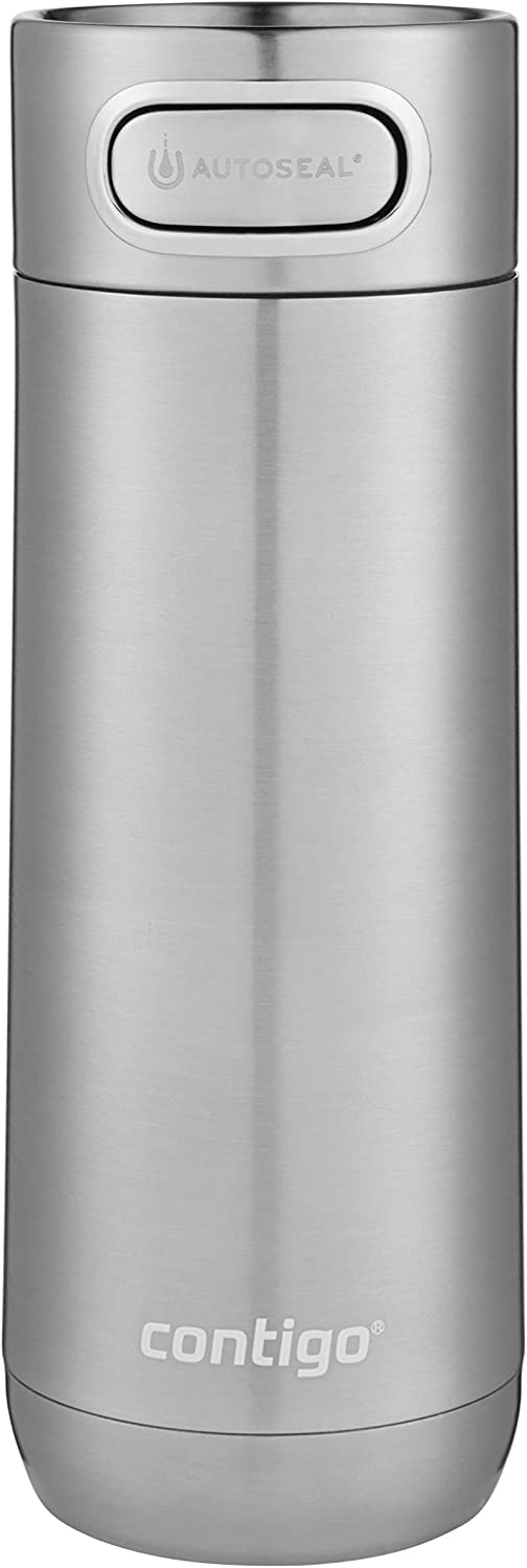 Contigo Luxe AUTOSEAL Vacuum-Insulated Travel Mug | Spill-Proof Coffee Mug with Stainless Steel THERMALOCK Double-Wall Insulation, 16 oz., Stainless Steel