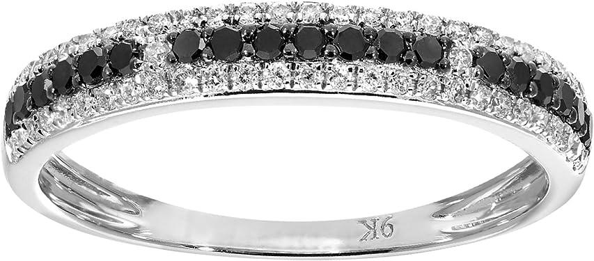 anillo de oro blanco 9K para mujer con diamantes negros y blancos