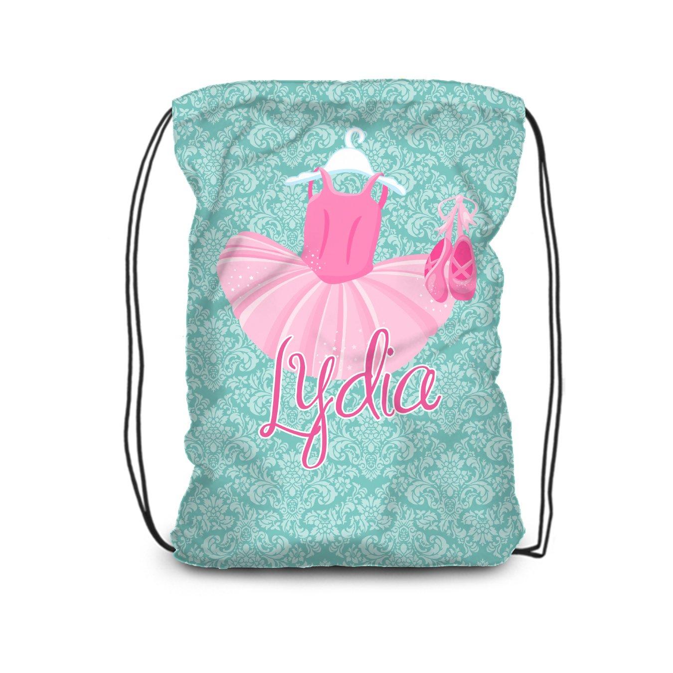 Ballet Drawstring Backpack - Turquoise Tutu Ballerina Bag