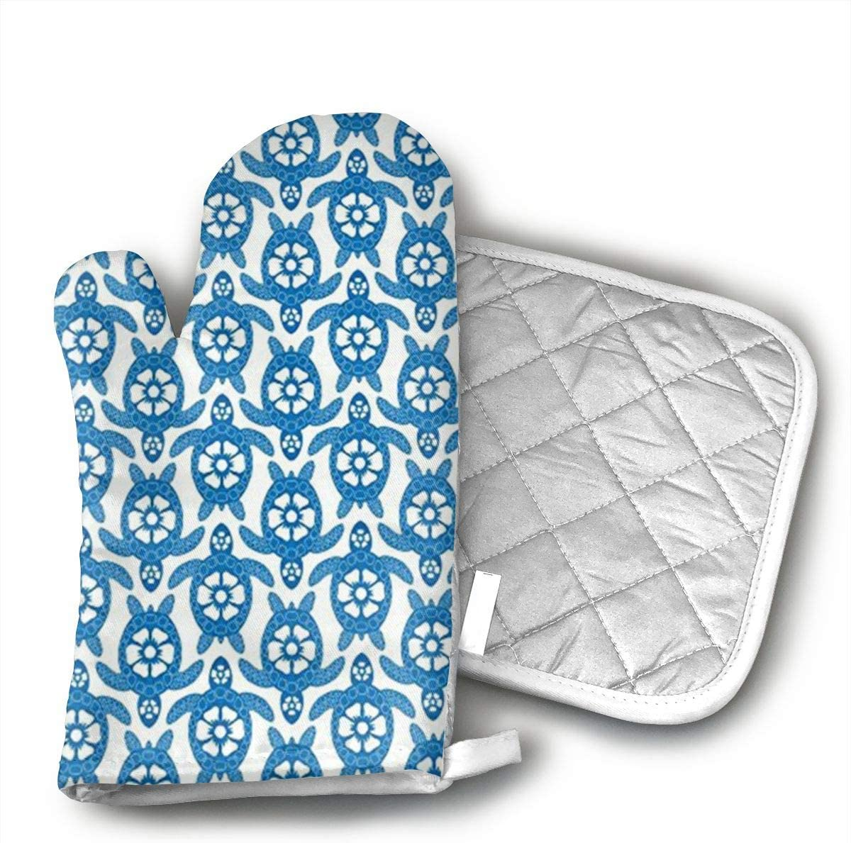 GRSTfsm Sea of Turtles Oven Mitts, Cook Mittens Protect Your Hand During Baking Doing BBQ