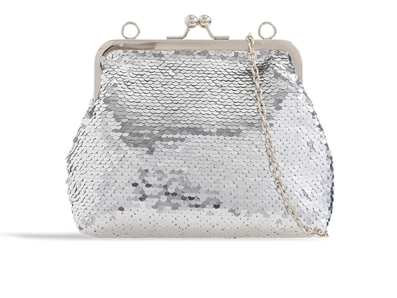 LeahWard Women/'s Sequin Kisslock Clutch Bags Small Cross Body Evening Bag Party