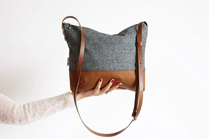 kleine Handtasche Stoff und Leder: : Handmade