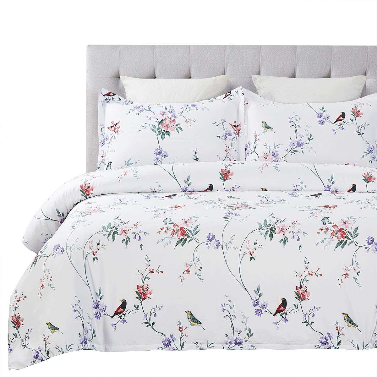 Vaulia 250-Thread-Count 100% Cotton Duvet Cover Set, Twill Weave Fabric Structure - Queen, White Flower and Birds