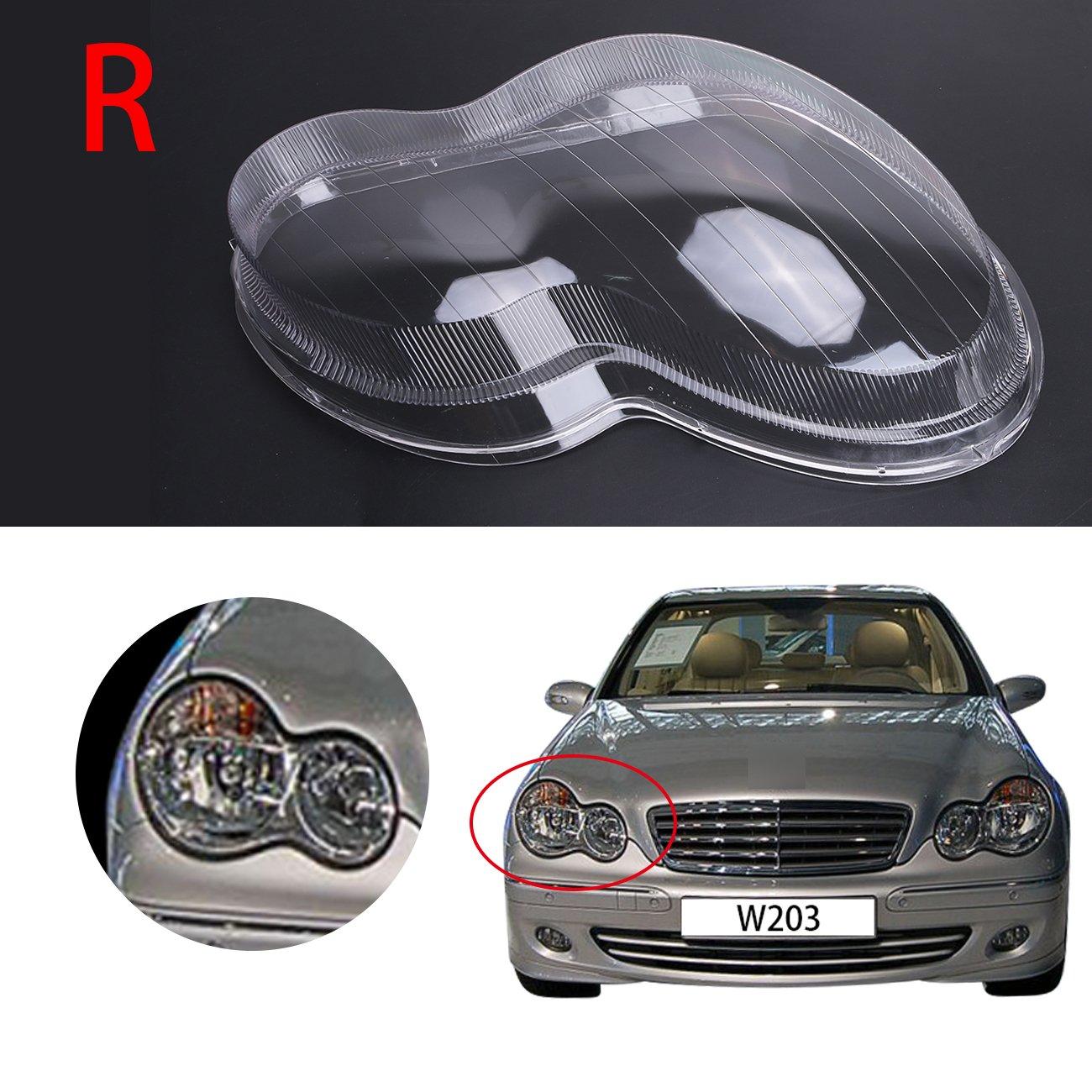 General Mega (Right: Passenger Side) Headlight Lens Plastic Shell Cover For Mercedes Benz W203 C-Class C230 C280 C350 2001-2007 Polycarbonate