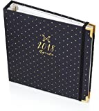 Best Weekly Notebook Planner - 17 Months Agenda - Gold Polka Dot /Navy Blue 1.5 Year Calendar, Budget and Journal - Success and Goal Agenda To Increase Productivity - 9.5 x 9 Inch