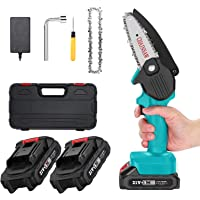 APROTII 21V Mini Chainsaw Electric Pruning Chain Saw for Wood Cutting Cordless Garden Tree Logging Trimming Saw with…
