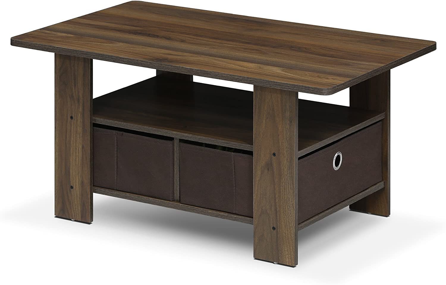 FURINNO Andrey Coffee Table with Bin Drawer, Columbia Walnut/Dark Brown