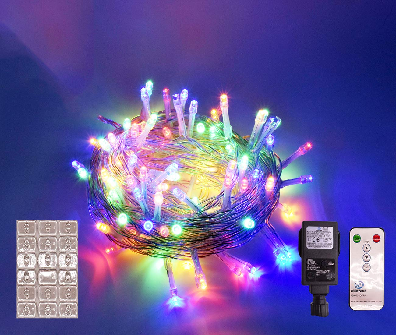 Cusomik 200LED 75ft Indoor String Christmas Lights 31V 8 Modes Fairy String for Homes, Christmas Tree, Wedding Party, Bedroom, Indoor Wall Decoration (200LED, Multicolor) DAG004K
