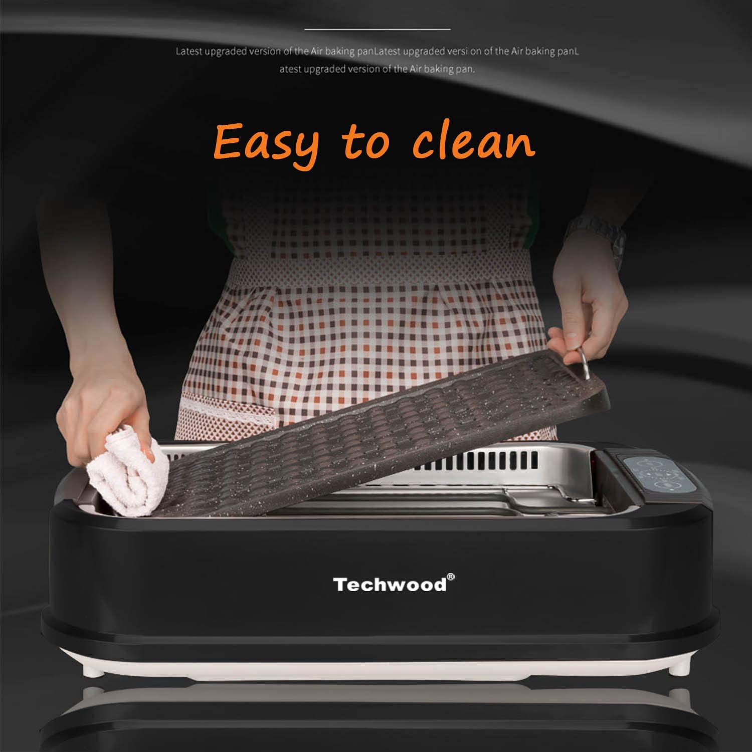Black Indoor Grill Techwood Indoor Smokeless Grill with Advanced Smoke Extractor Technology Adjustable Temperature Control