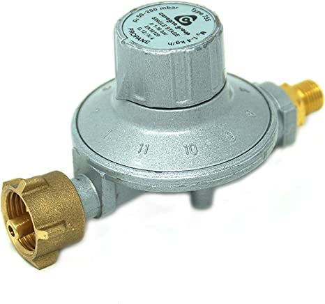CAVAGNA Regulador de Baja presión 50-200mbar Regulador de presión de Gas Ajustable de 11 etapas para Parrilla de Gas, radiador de Gas, Olla de Gas, ...