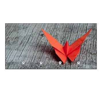 Portemanteau mural 4 crochets inversés et origami motif : papillon ...