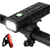 Strontex Bike Lights Front and Back Rechargeable Set, 1000 lumens, LED, Flashlight with 3 Modes, IPX5 Waterproof Bike…