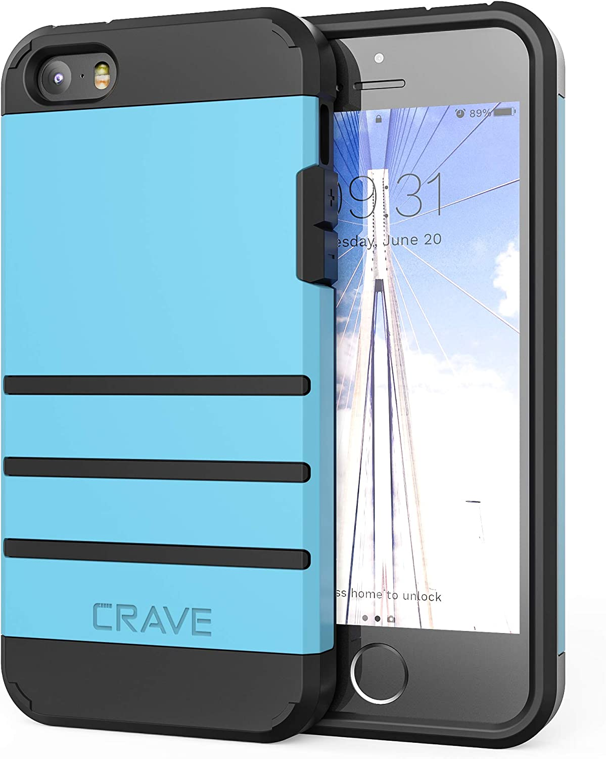 iPhone SE [2016](1st gen) Case, iPhone 5s Case, Crave Strong Guard Protection Series Case for iPhone 5 5s SE - Sky Blue