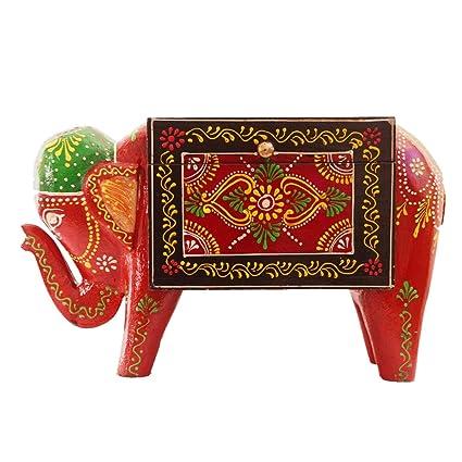 Purpledip Caja de madera morada con diseño de elefante festivo, caja pintada a mano con