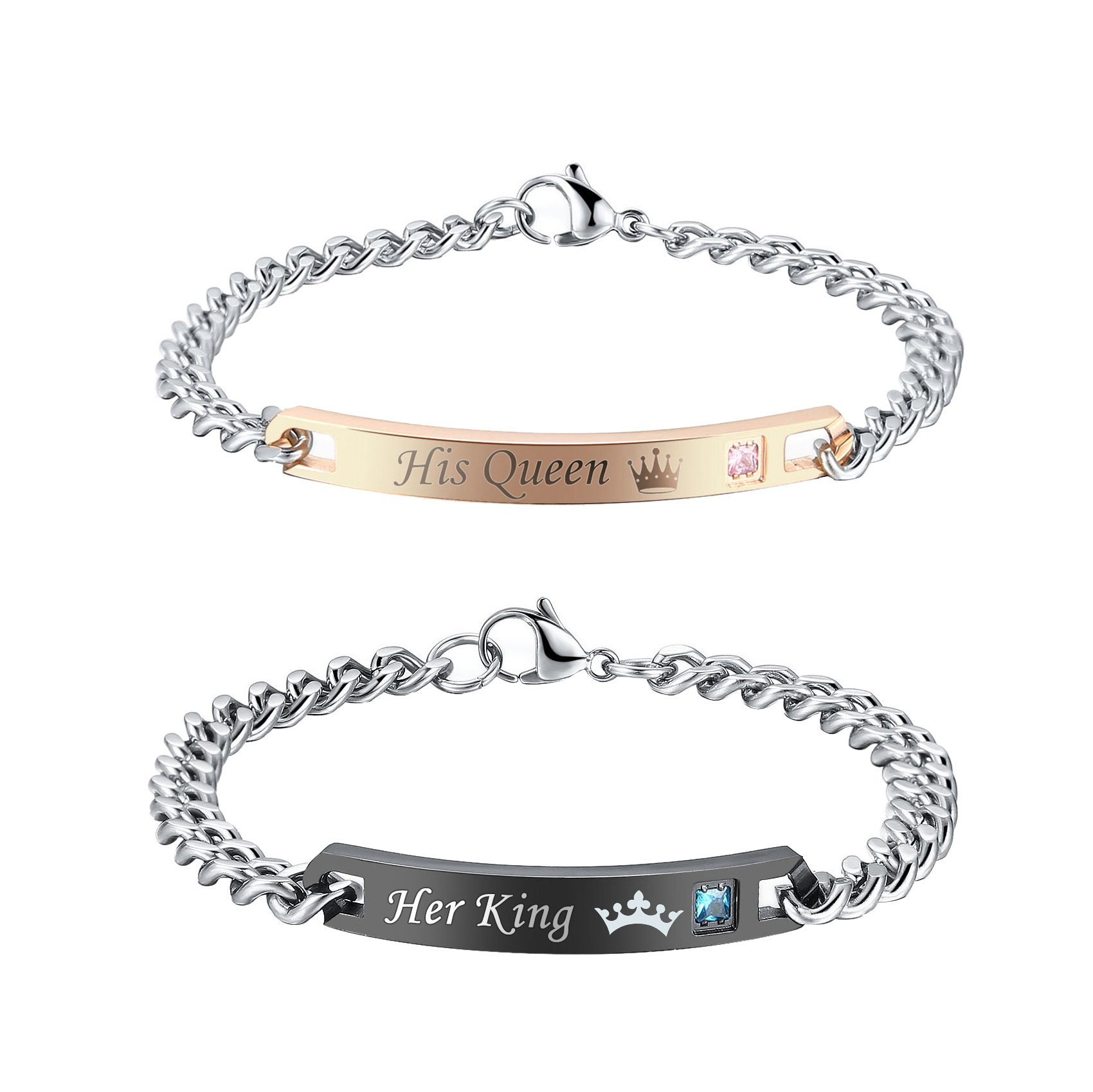 Gagafeel His Hers Matching Set Titanium Stainless Steel His Queen Her King Couple Bracelet 2 pcs with Gift Box (His Queen Her King)