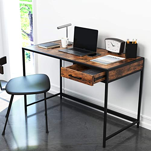 IRONCK Desk Computer Table with Drawer 47 Writing Desk for Home Office, Writing Workstation, Space-Saving, Easy to Assemble, Retro Brown