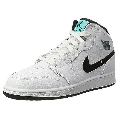watch 6601b 07831 Nike Youth Air Jordan 1 Mid White Black Leather Trainers 35.5 EU ...