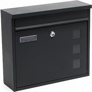 Briefkasten Postkasten Design Anthrazit pulverbeschichtet Wandbriefkasten Mailbox V12