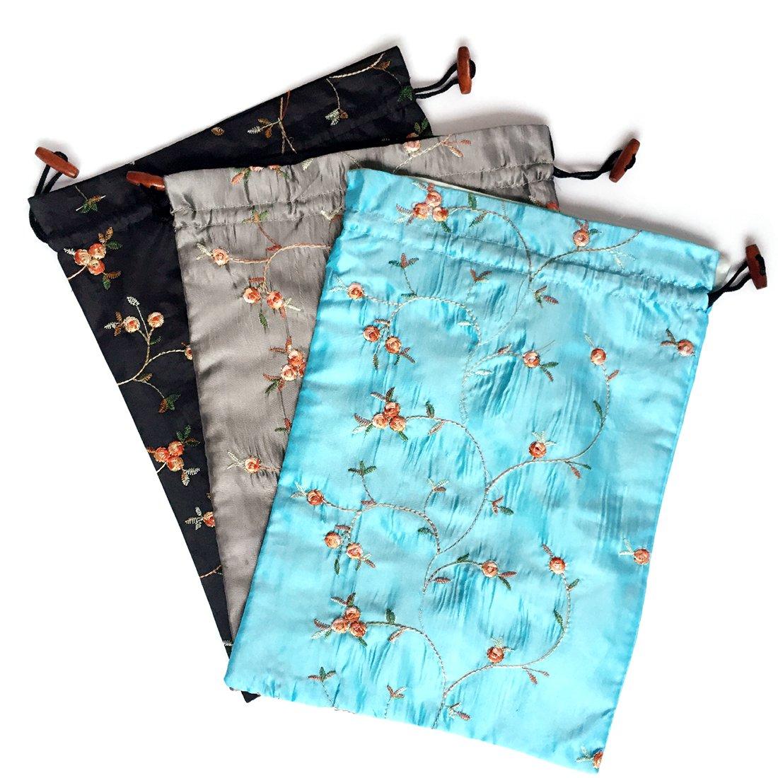 Elesa Miracle Embroidered Silk Jacquard Travel Bag, Lingerie & Shoes Bag, 3 Packs, Sky Blue, Black, Silver