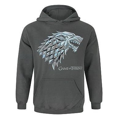 Game Of Thrones Juego de Tronos - Sudadera Oficial diseño metálico Stark Direwolf para Hombre: Amazon.es: Ropa y accesorios