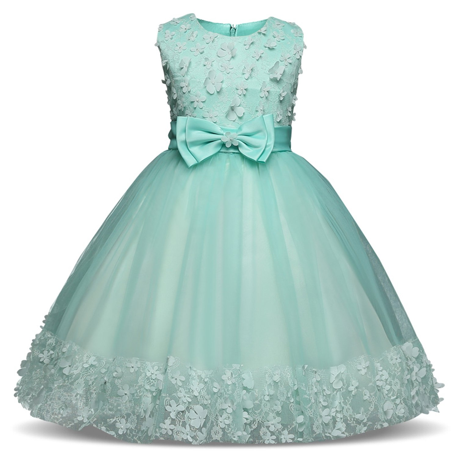 Girls Dress Mesh Pearls Children Wedding Party Dresses Kids Evening Ball Gowns Formal Baby Frocks Clothes for Girl 4-10Yrs, 6