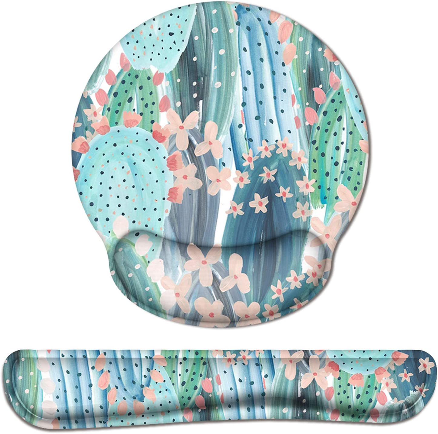 Anyshock Keyboard Wrist Rest and Ergonomic Mouse Pad with Wrist Support, Mouse Pad Set Memory Foam Filled Non Slip Base Easy Typing and Relieve Wrist Pain for Home/Office (Colorful Cactus)