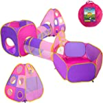 Playz 5pc Children's Playhouse Popup Tents, Tunnels, and Basketball Hoop for
