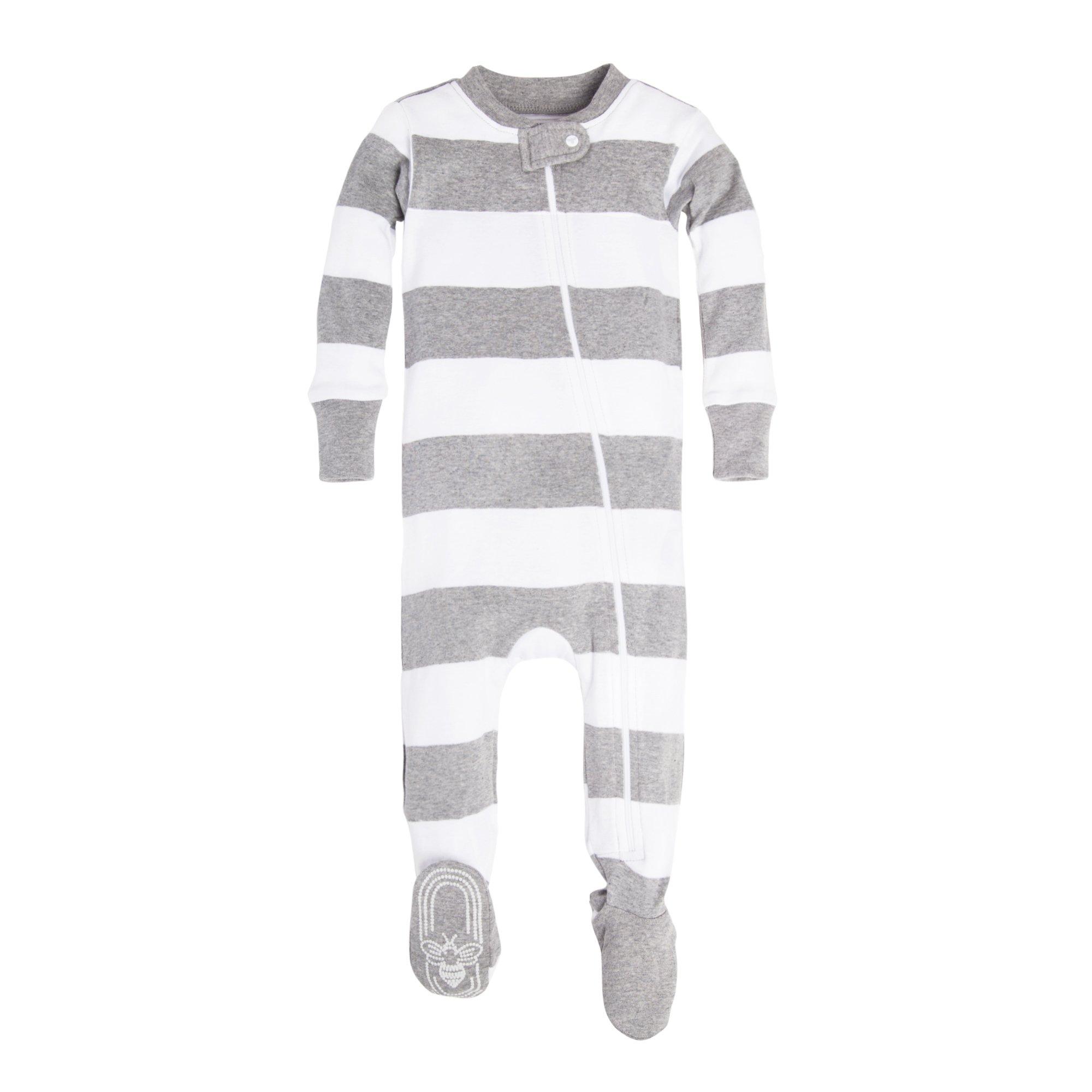 Sleeper Pajamas, Heather Grey Rugby Stripe, 0-3 Months