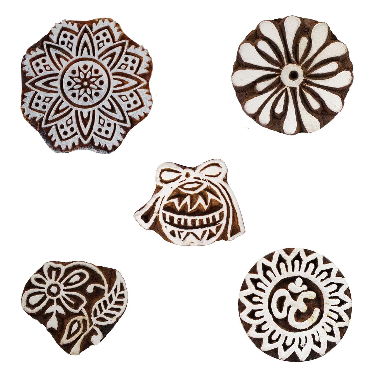 Wooden Block Printing Decorative Om and Floral Textile Stamp Pottery Fabric Clay Project Scrapbook Craft Blocks Set of 5 by CraftyArt