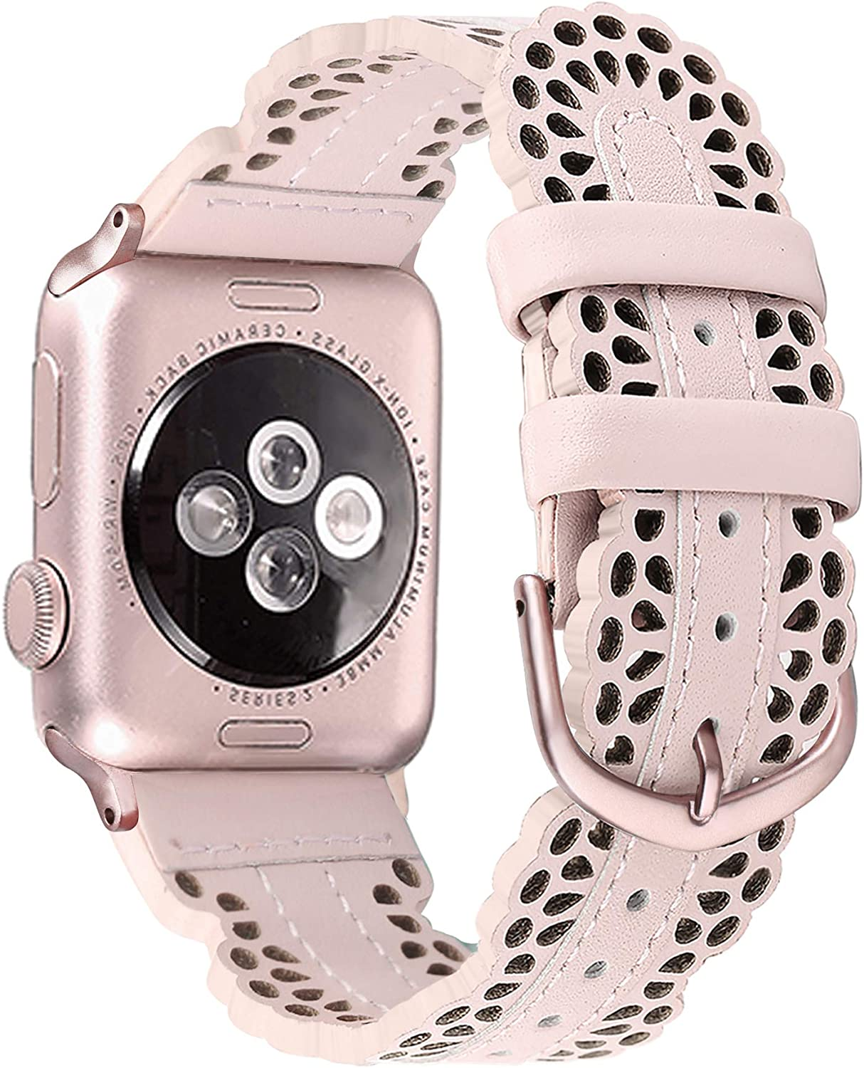Secbolt Leather Bands Compatible with Apple Watch Band 38mm 40mm iWatch SE Series 6 5 4 3 2 1, Breathable Chic Lace Leather Strap for Women, Pink with Rose Gold Connector