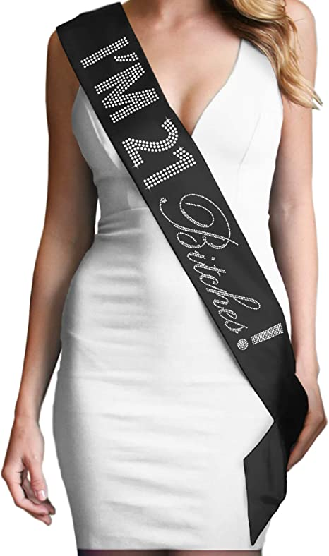 Birthday Sash Im 21 Bitches! 21st Birthday Party Gifts for Her Finally Legal Sash Drinking Age Birthday Party Accessories Black
