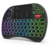Mini Keyboard,Rii X8 Portable 2.4GHz Mini Wireless Keyboard Controller with Touchpad Mouse Combo,8 Colors RGB Backlit…
