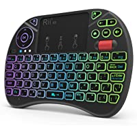 Upgraded Riitek Rii X8 2.4GHz Mini Wireless Keyboard Remote Controller with Touchpad Mouse Combo, 8-Colour LED Backlight…
