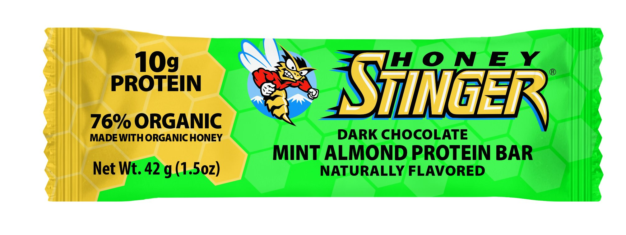 Honey Stinger Protein Bar, Dark Chocolate Mint Almond, 1.5 Ounce (Pack of 15)