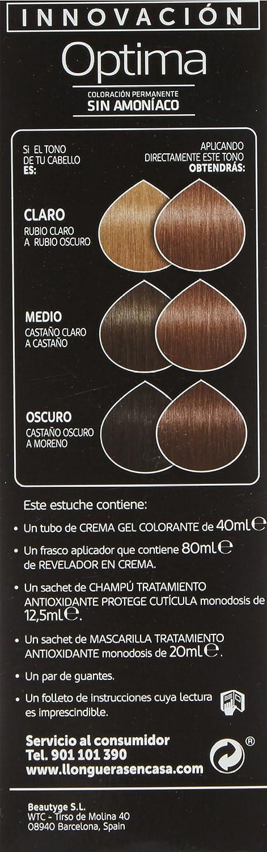 Llongueras Optima Tinte de Cabello Permanente sin Amoniaco Tono #7.24 Rubio Almendra