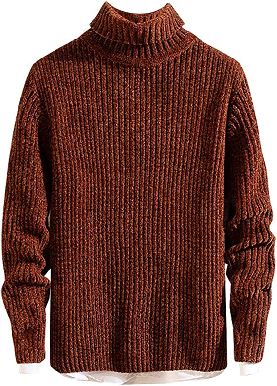 Mens Autumn High Collar Sweater Knitted Jerseys Tops Youth Clothes Bottom Shirt