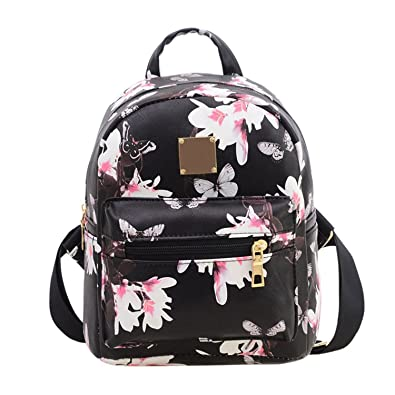 Fashion Floral Printing Women Leather Backpack School Bags for Teenage  Girls Lady Travel Small Backpacks Mochila 30919bfb13e62