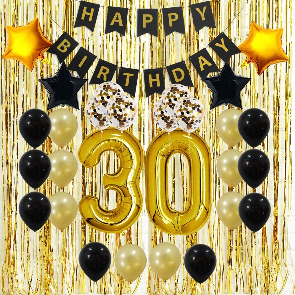 Amazon Com 30th Birthday Decorations Gifts For Her Him Men Women Dirty 30 Birthday Party Supplies Happy Birthday Banner Gold Foil Fringe Curtains 30 Gold Number Balloons And Confetti Balloons Toys Games