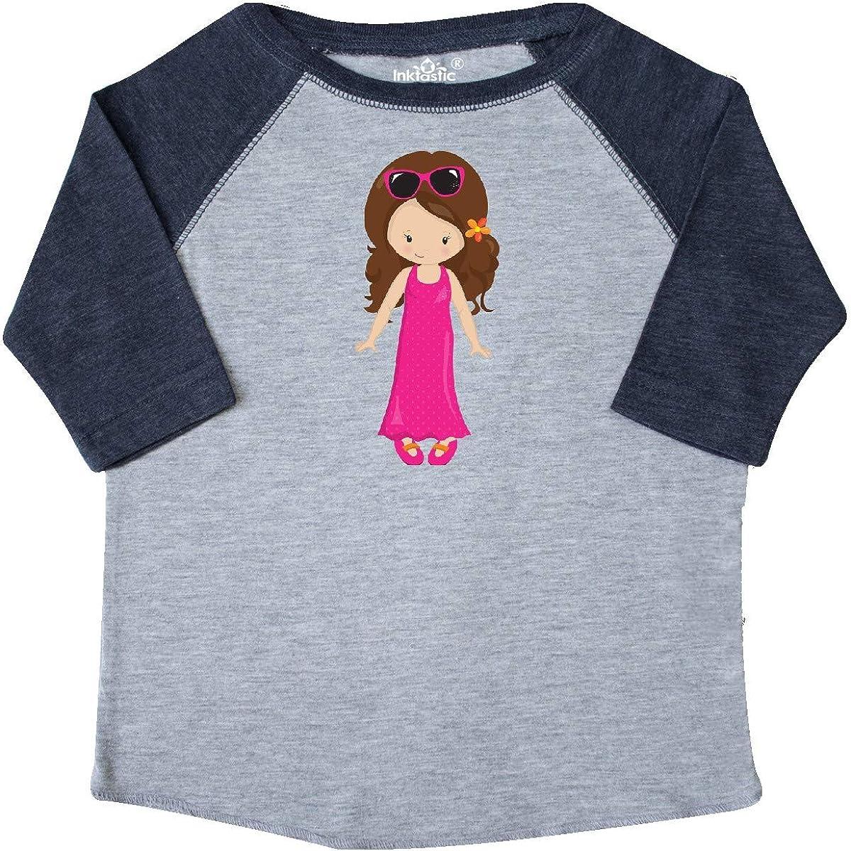 Sunglasses Toddler T-Shirt Pink Dress inktastic Fashion Girl Brown Hair