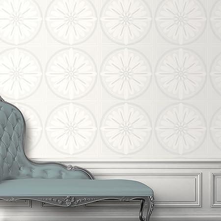 Glitter Whites Petal Pattern Textured Wallpaper Direct