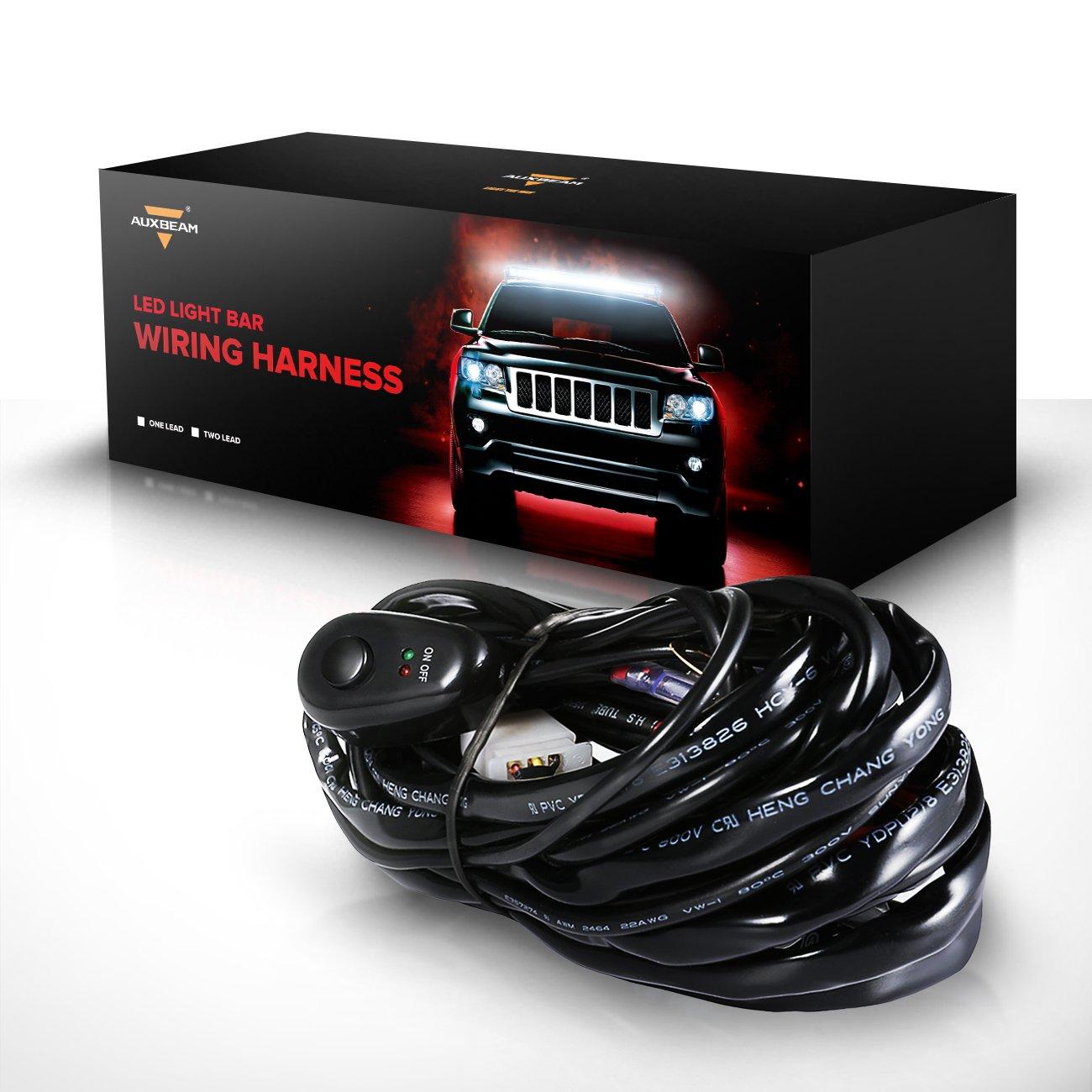 Auxbeam LED Light Bar Wiring Harness Kit 12V 40Amp Fuse Relay ON/OFF Switch  for Driving Light Fog Light Work Light ( 2 Lead )