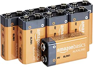 AmazonBasics 9 Volt Everyday Alkaline Batteries - Pack of 8 (Appearance may vary)