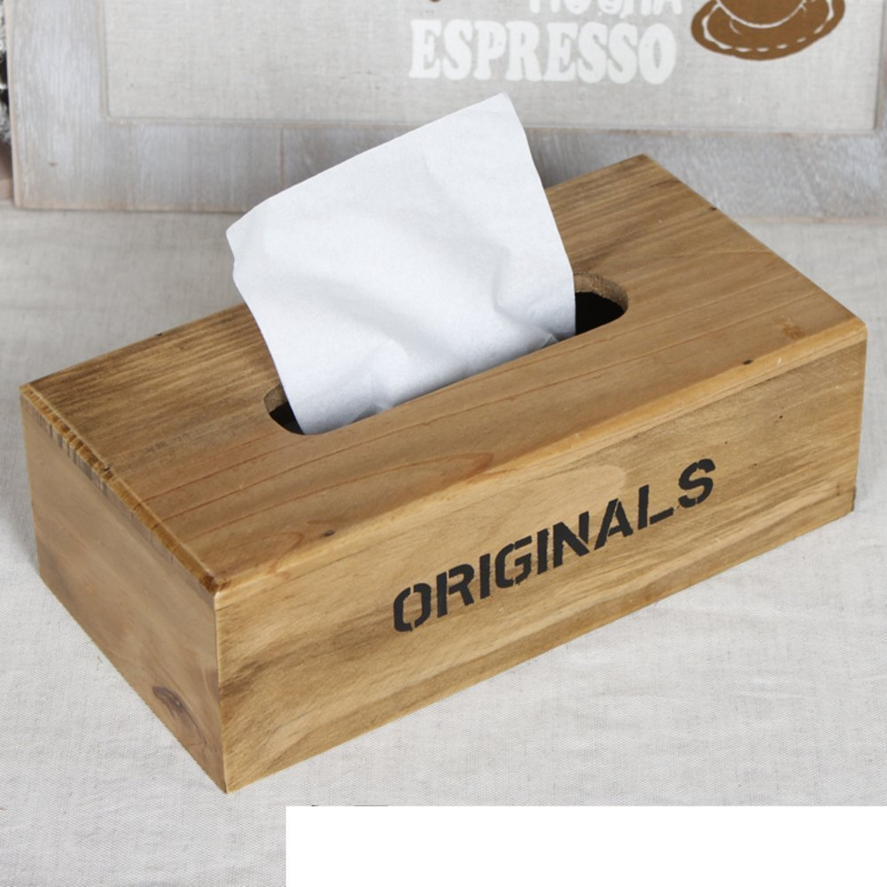 DIDIDD Decorations-American country old tissue box wood box household storage box,B