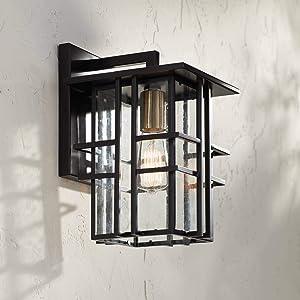 Arley Modern Contemporary Outdoor Wall Light Fixture Black Geometric Frame 12