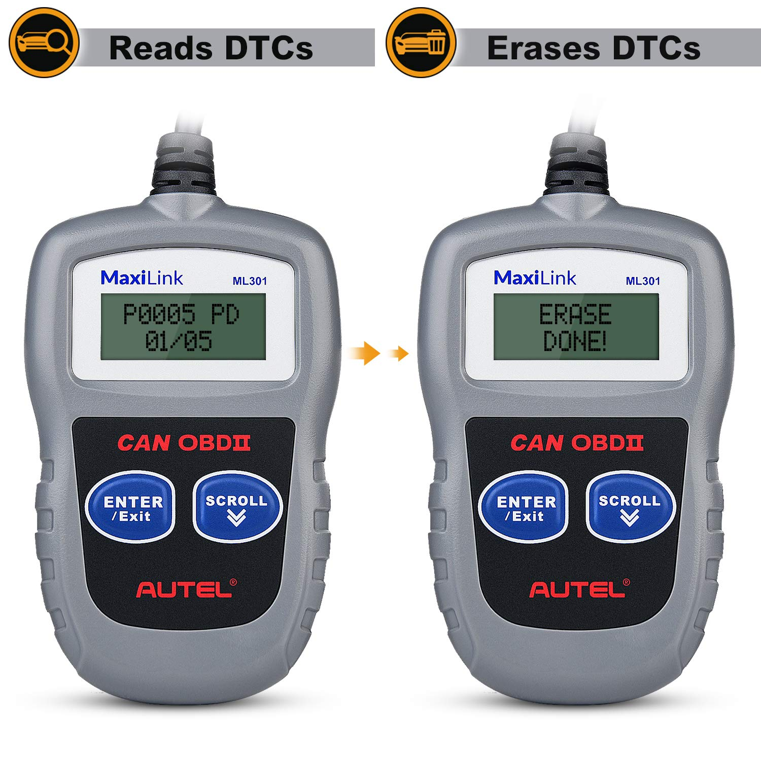 Autel MaxiLink ML301 OBD2 Scanner,Fault Code Reader with Reset and Turn off Check Engine Light(MIL),Upgraded Version of MS309