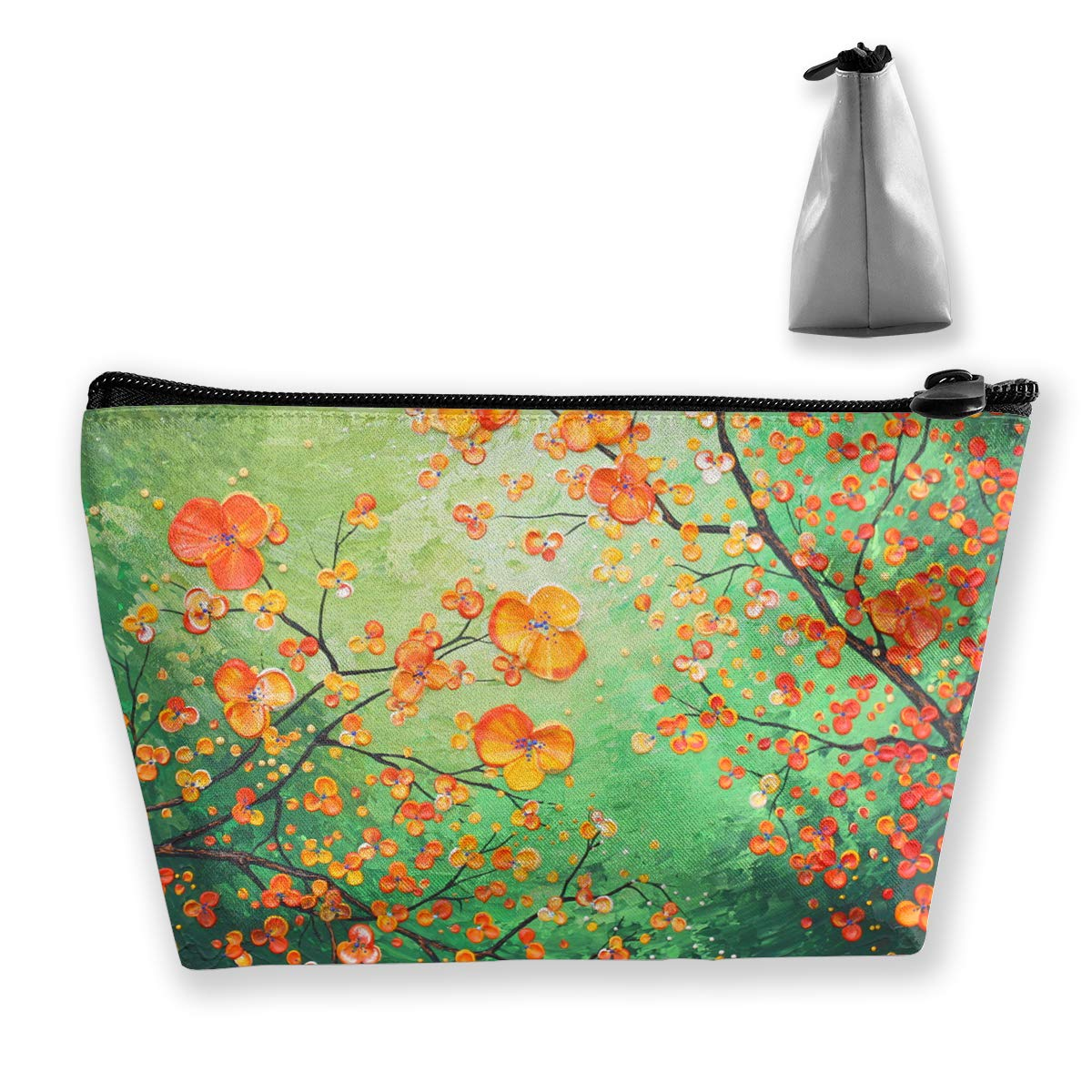 Trapezoid Toiletry Pouch Portable Travel Bag Leaf Reality Artist Zipper Wallet