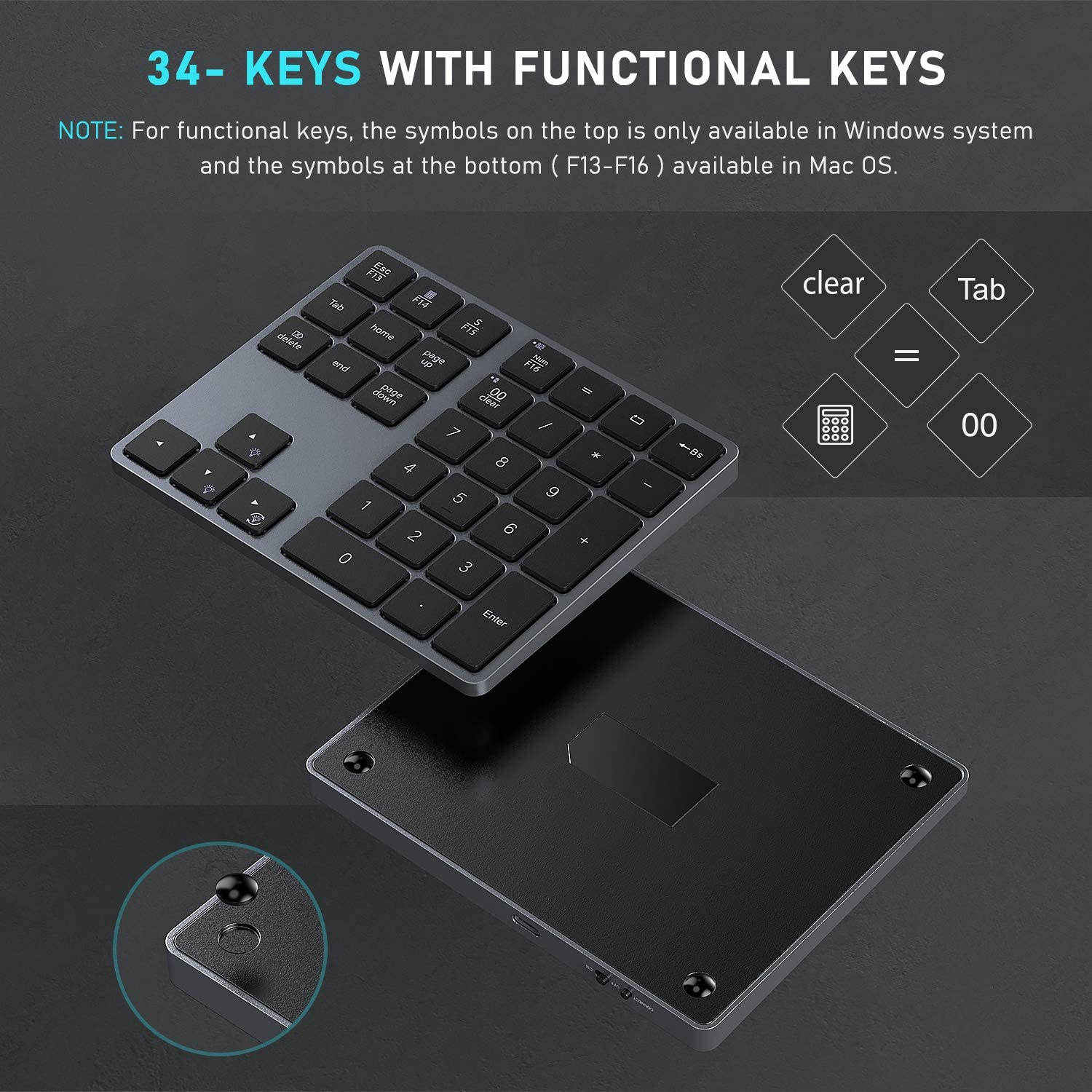 Jelly Comb Rechargeable Number Pad Keyboard with 34 Keys for PC//Laptop//MacBook//iMac Win//Mac OS Wireless Bluetooth Backlit Numeric Keypad Space Gray