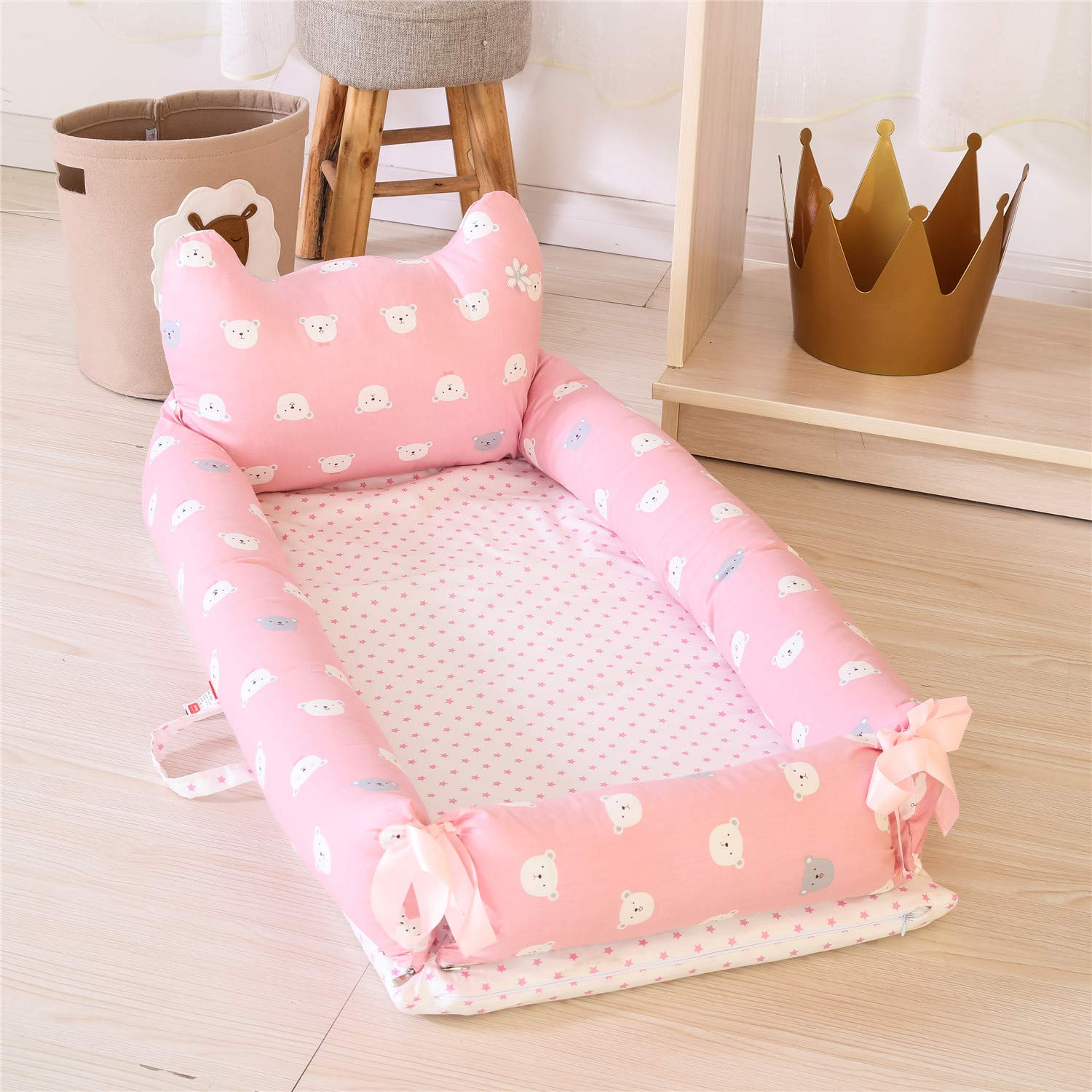 0-24 Months Co-Sleeping Baby Bed Bear-Pink Baby Lounger 100/% Cotton Portable Crib for Bedroom//Travel Abreeze Baby Bassinet for Bed