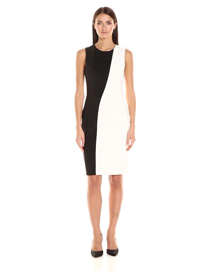 Calvin Klein Womens Color Block Sleeveless Sheath Dress At Amazon